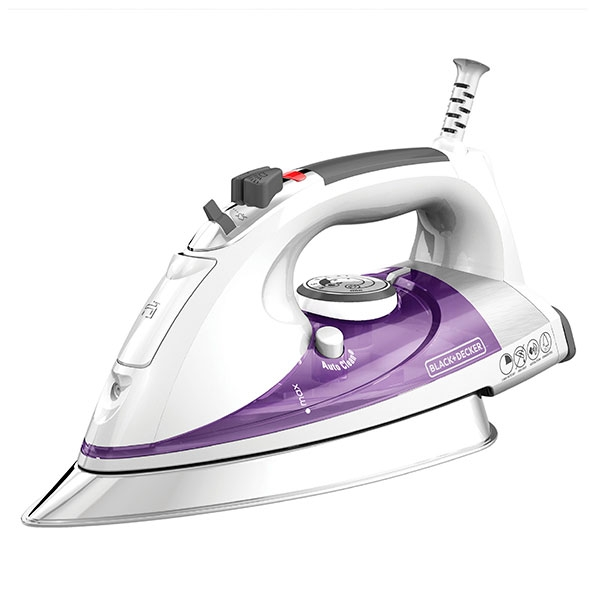 Plancha de vapor Black + Decker, 1500 Watts. Color Blanco/Purpura.