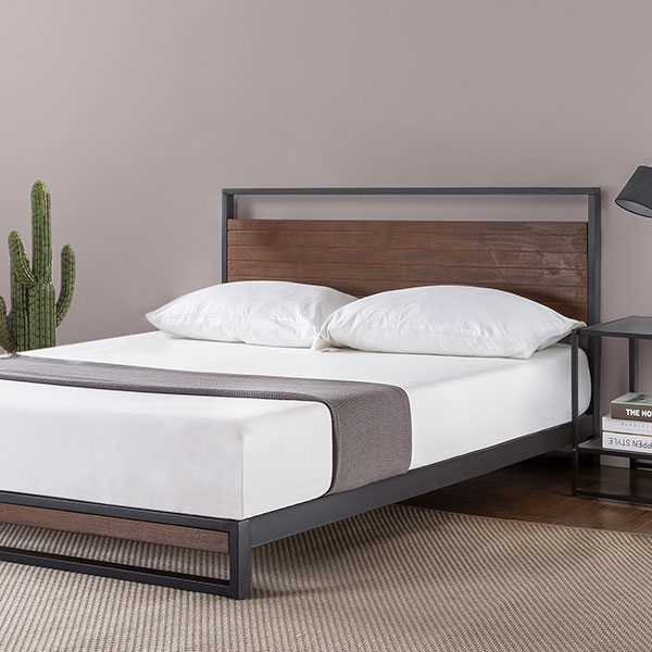 Cama matrimonial Full de metal y madera. Cherry.