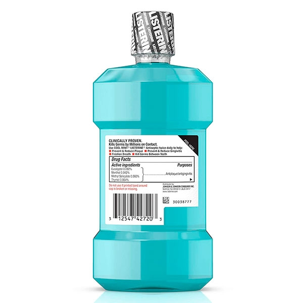 Enjuague Bucal antiséptico (Cool Mint de Listerine - 250 ml).